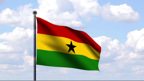 Animated Flag of Ghana / Animierte Flagge von Ghan Stock Video Footage