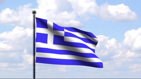 Animated Flag of Greece Stock Video Footage