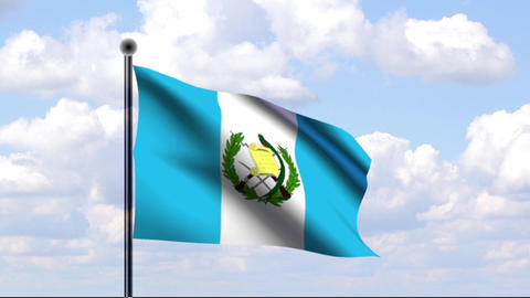 Animated Flag of Guatemala Stock Video Footage