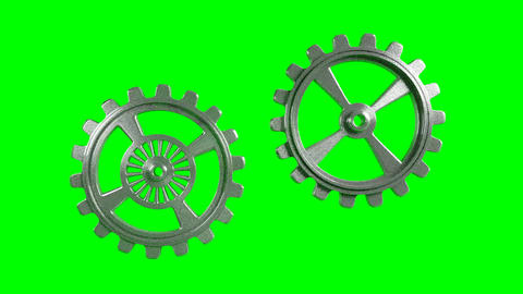 Cogwheels - Animation - Green Background Stock Video Footage