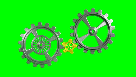 Cogwheels - Animation - Green Background Animation