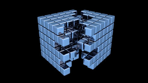 Blue Cubes - Assembly - Animation Stock Video Footage