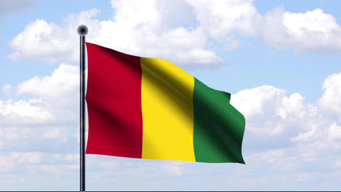 Animated Flag of Guinea / Animierte Flagge von Gui Stock Video Footage