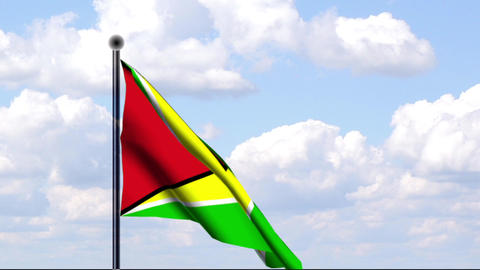 Animated Flag of Guyana / Animierte Flagge von Guy Stock Video Footage