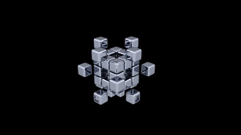 3D Cubes - Assembling Parts - 2 Stock Video Footage
