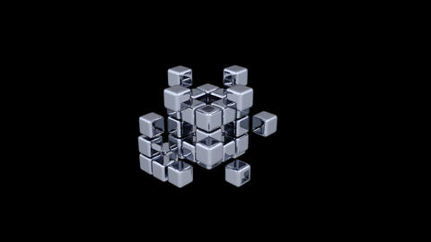 3D Cubes - Assembling Parts - 2 Stock Video Footage