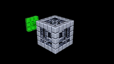 3D Cubes - Assembling Parts - 2 Animation