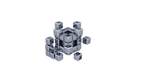 3D Cubes - Assembling Parts - Blue Stock Video Footage