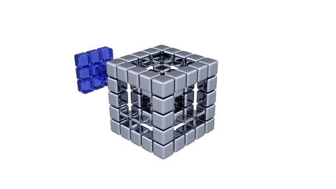 3D Cubes - Assembling Parts - Blue Animation