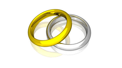 Wedding Rings - Yellow And White Gold - Animation Stock Video Footage
