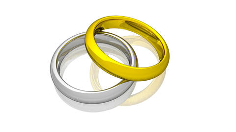 Wedding Rings - Yellow And White Gold - Animation Animation