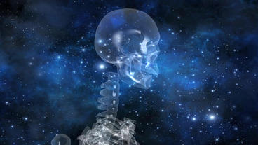 human skeleton with universe background Stock Video Footage