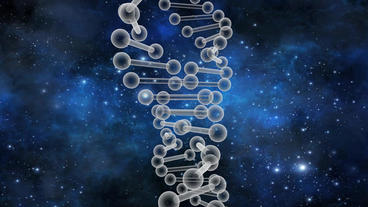 3D DNA string rotation with universe background Stock Video Footage