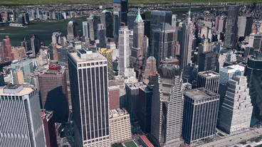 aerial view of New york,satellite navigation,Spectacular city landscape Animation