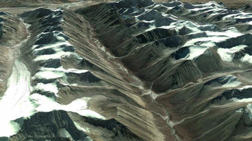 a bird's-eye view of snow mountain plateau Stock Video Footage