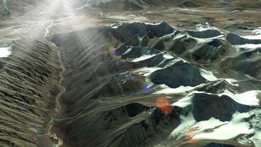 a bird's-eye view of snow mountain plateau,sunlight &... Stock Video Footage