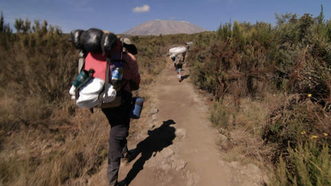 Headed down trail behind porters Kilimanjaro in the background Footage