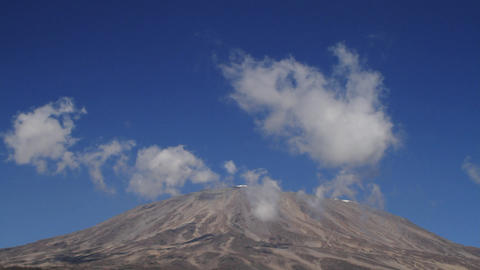 Static shot of Kilimanjaro with clouds moving Footage