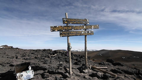 Shot of the sign on top of Kilimanjaro summit Footage