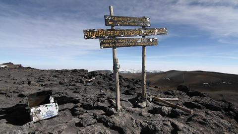 Shot of the sign on top of Kilimanjaro summit Stock Video Footage