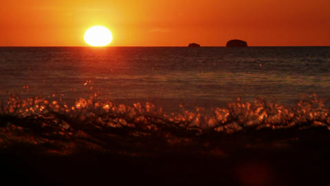 Sunset show of ocean with waves Stock Video Footage