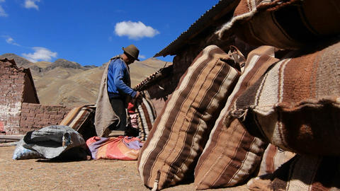 Villagers with potato sacks getting ready Stock Video Footage
