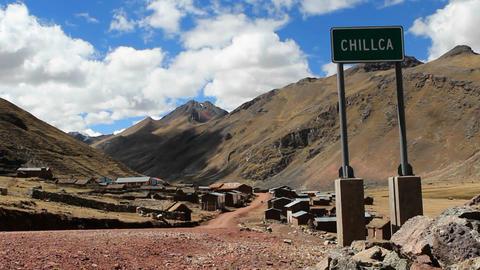 Chillca village sign Stock Video Footage
