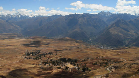 Village in Sacred valley with Andes Stock Video Footage