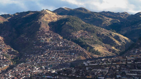 Cusco city in the hills pan across city Stock Video Footage