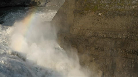 Rainbow over thundering waterfall Footage