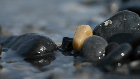 Pebbles on the riverbank Stock Video Footage