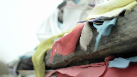 Close-up of prayer flags on Chorten Stock Video Footage