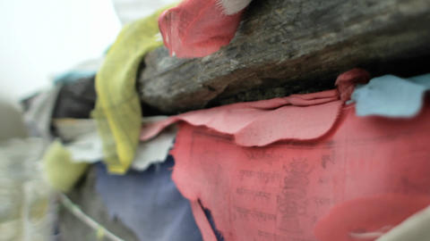 Close-up of prayer flags on Chorten Footage
