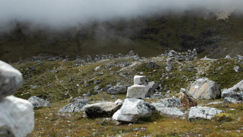 Wide shot shifting to focus on one chorten Stock Video Footage