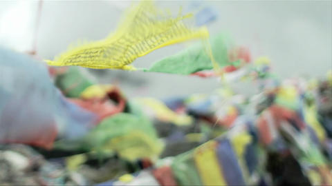 Prayer flags soft focus Stock Video Footage