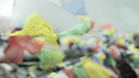 Prayer flags soft focus Stock Video Footage