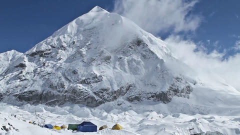 Tents at advance base camp Stock Video Footage