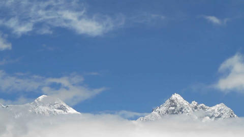 Everest and Lhotse surround by cloud Footage