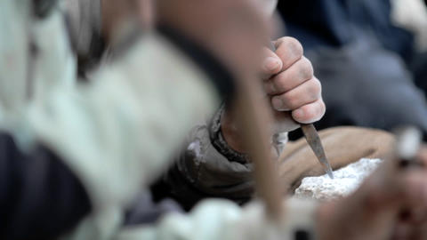 Close-up of masons chiseling Stock Video Footage