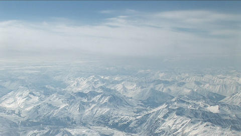 Fly-over The Mountain Range stock footage