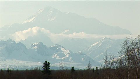 Denali from a far with clouds Footage
