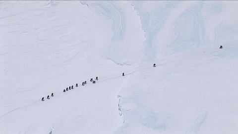 Climbers making their way towards the west ridge Stock Video Footage