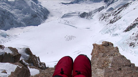 Sitting on the edge, Mount Foraker, basecamp Stock Video Footage