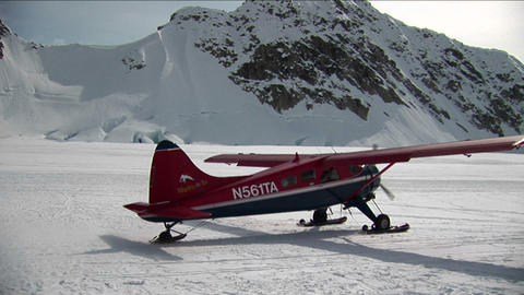 Plane taking off at from glacier Footage