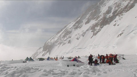 Climbers prepping at camp four Stock Video Footage