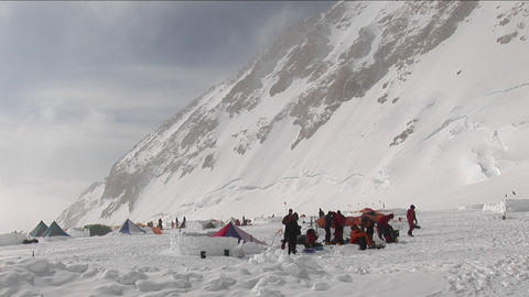 Climbers prepping at camp four Footage