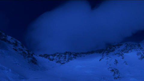 Upper mountain in pale blue light Stock Video Footage