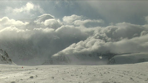 Blizzard moving in with sun-shining Footage