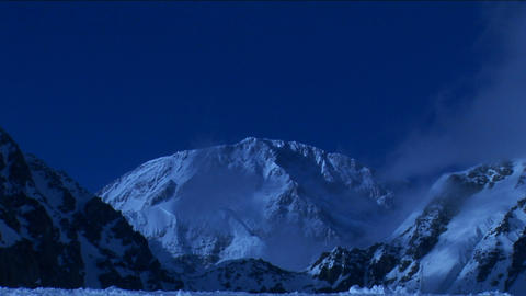 Denali under pale blue light Footage