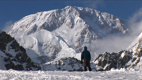 Climber looking up at his goal, Denali Footage